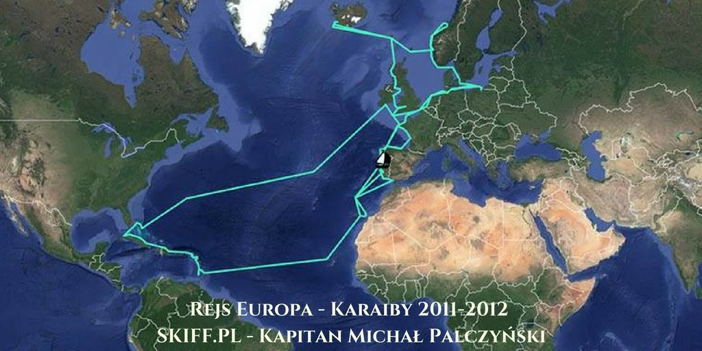 Trasa rejsu morskiego Europa - Karaiby 2011-2012 Kpt. Michała Palczyńskiego - SKIFF