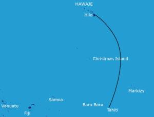 Mapka rejsu Hawaje - Tahiti