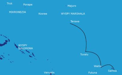 Mapka rejsu: Samoa - Wallis - Tuvalu - Tarawa