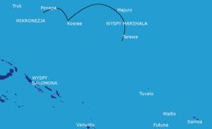 Trasa rejsu: Tarawa - Majuro - Kosrae - Ponape (1350Mm)
