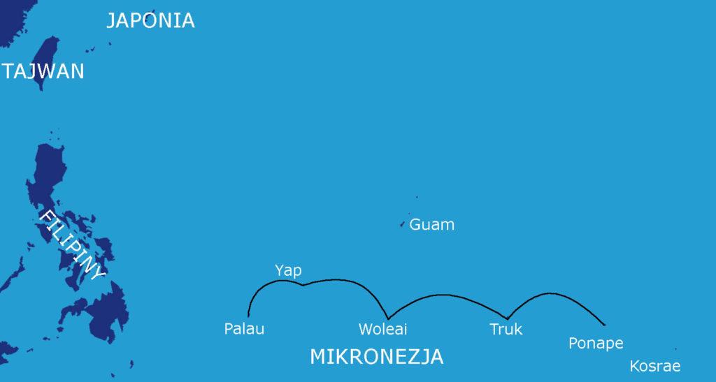 Mapa rejsu Ponape - Truk - Woleali - Yap - Palau (1400 Mm)