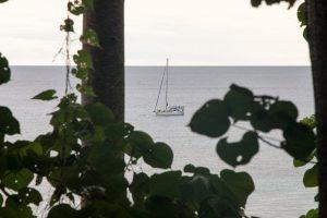 Nasz jacht Crystal widziana z brzegu