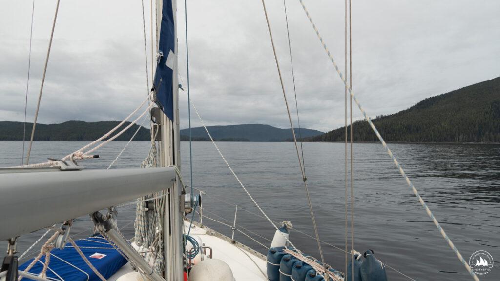 jacht Crystal na kotwicy w Kanadzie, Kolumbia Brytyjska