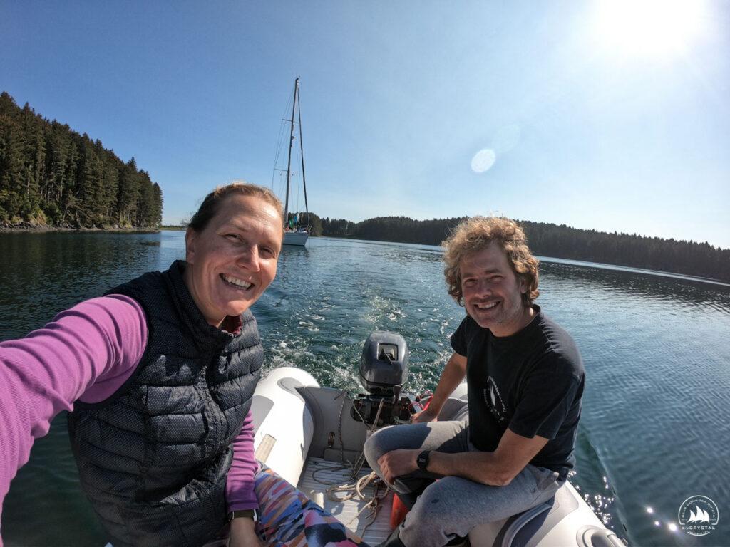Ola i Michał na pontonie, rejs morski 2020 Alaska, USA